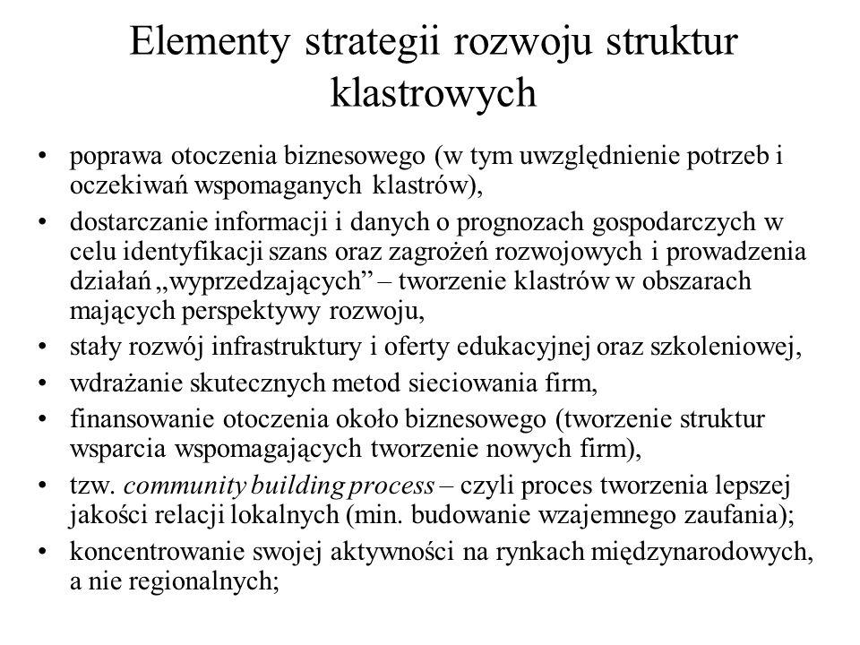 Elementy strategii rozwoju struktur klastrowych