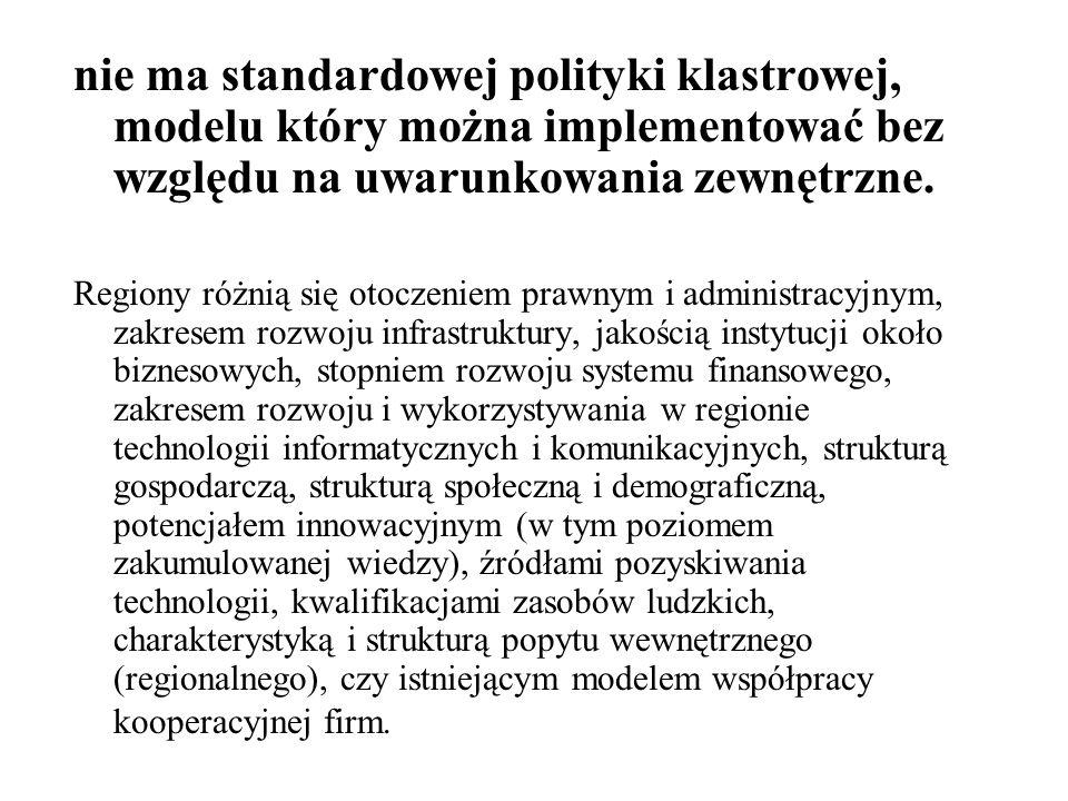 nie ma standardowej polityki klastrowej, modelu który można implementować bez względu na uwarunkowania zewnętrzne.