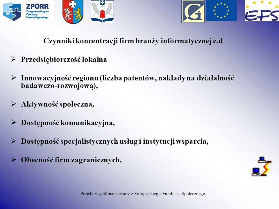Czynniki koncentracji firm branży informatycznej c.d