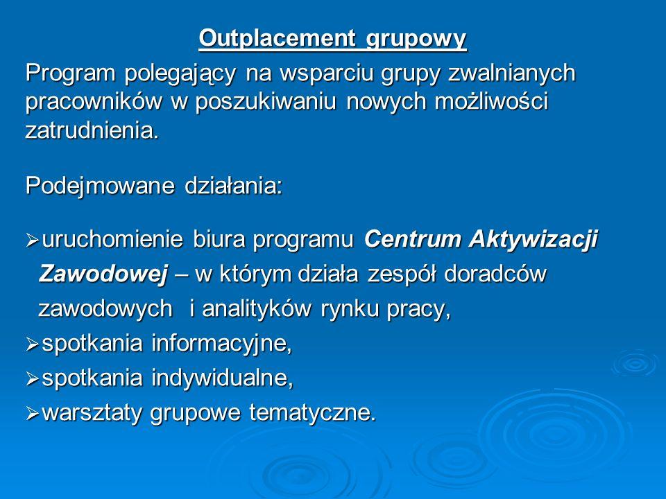 Outplacement grupowyProgram polegający na wsparciu grupy zwalnianych pracowników w poszukiwaniu nowych możliwości zatrudnienia.
