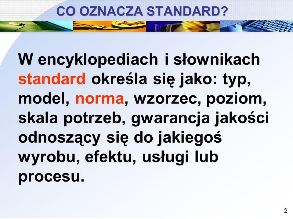 CO OZNACZA STANDARD