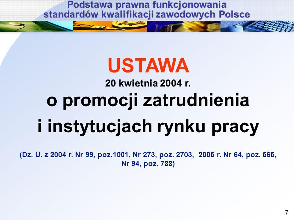 USTAWA 20 kwietnia 2004 r. o promocji zatrudnienia