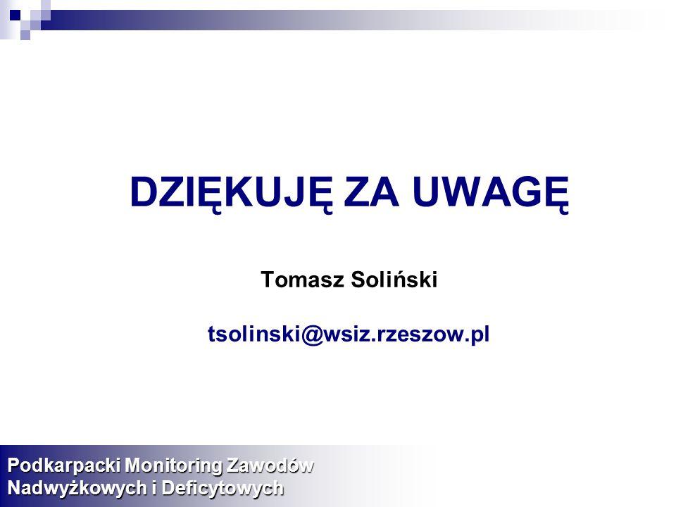 DZIĘKUJĘ ZA UWAGĘ Tomasz Soliński tsolinski@wsiz.rzeszow.pl