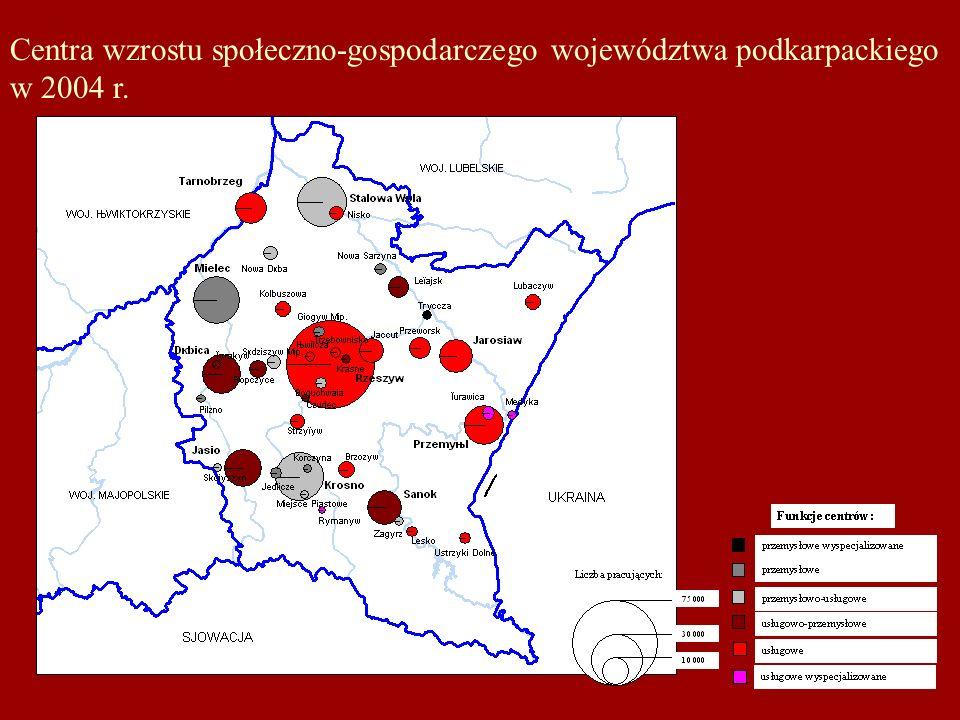 Centra wzrostu społeczno-gospodarczego województwa podkarpackiego w 2004 r.
