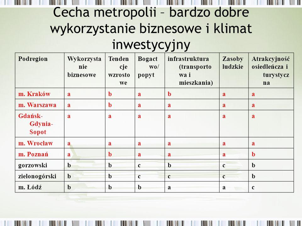 Cecha metropolii – bardzo dobre wykorzystanie biznesowe i klimat inwestycyjny