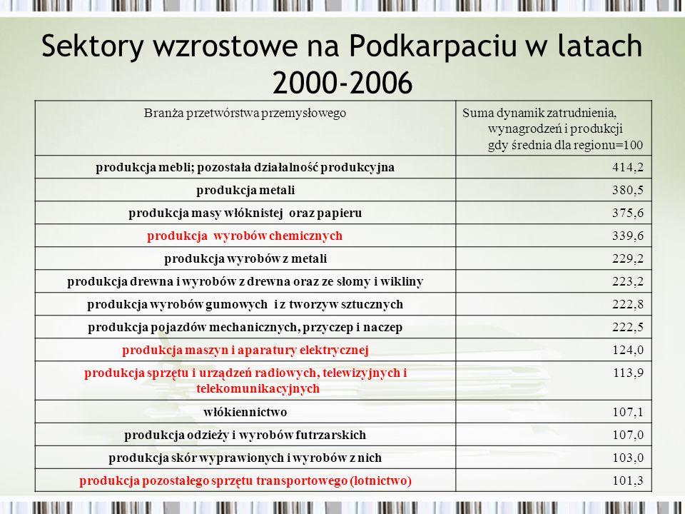 Sektory wzrostowe na Podkarpaciu w latach 2000-2006