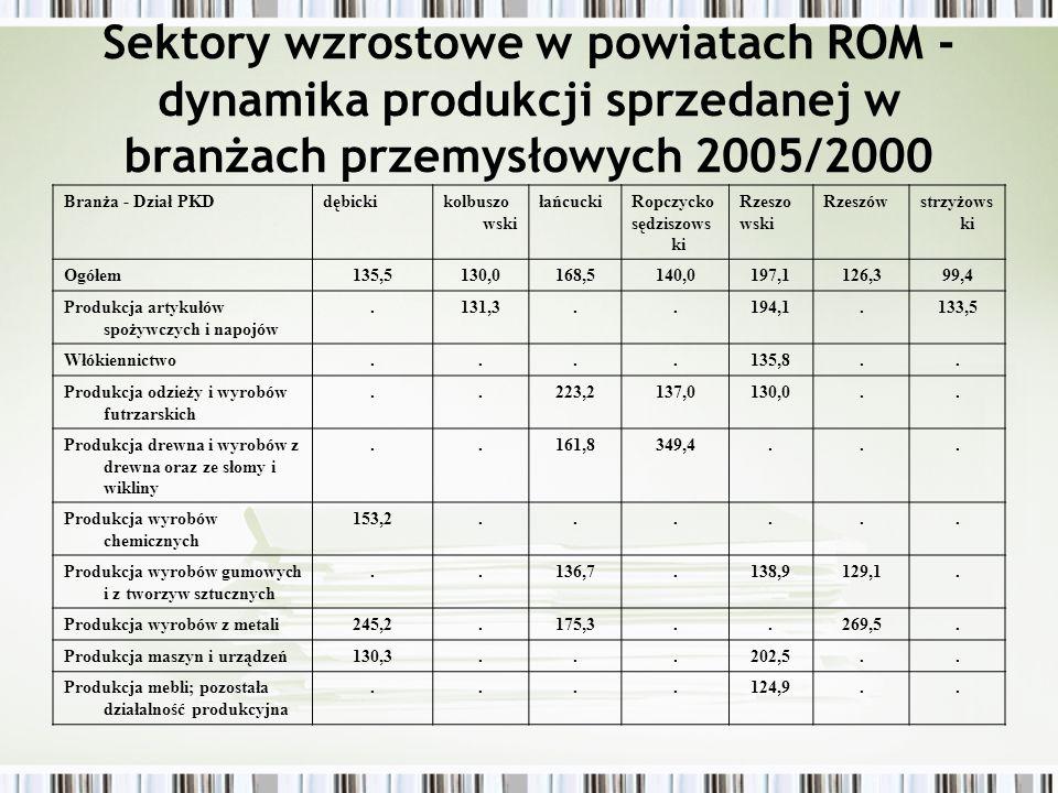 Sektory wzrostowe w powiatach ROM - dynamika produkcji sprzedanej w branżach przemysłowych 2005/2000