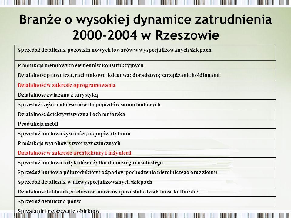Branże o wysokiej dynamice zatrudnienia 2000-2004 w Rzeszowie