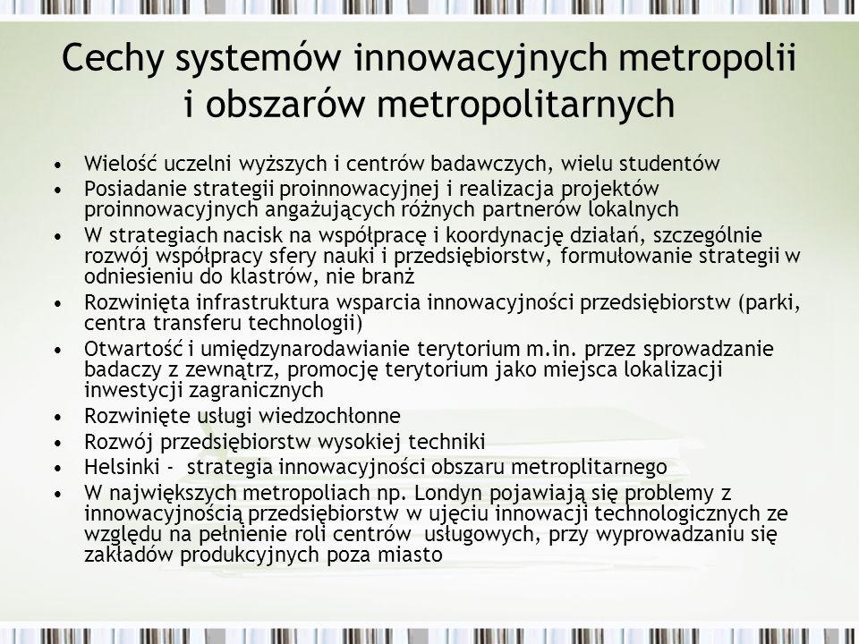 Cechy systemów innowacyjnych metropolii i obszarów metropolitarnych