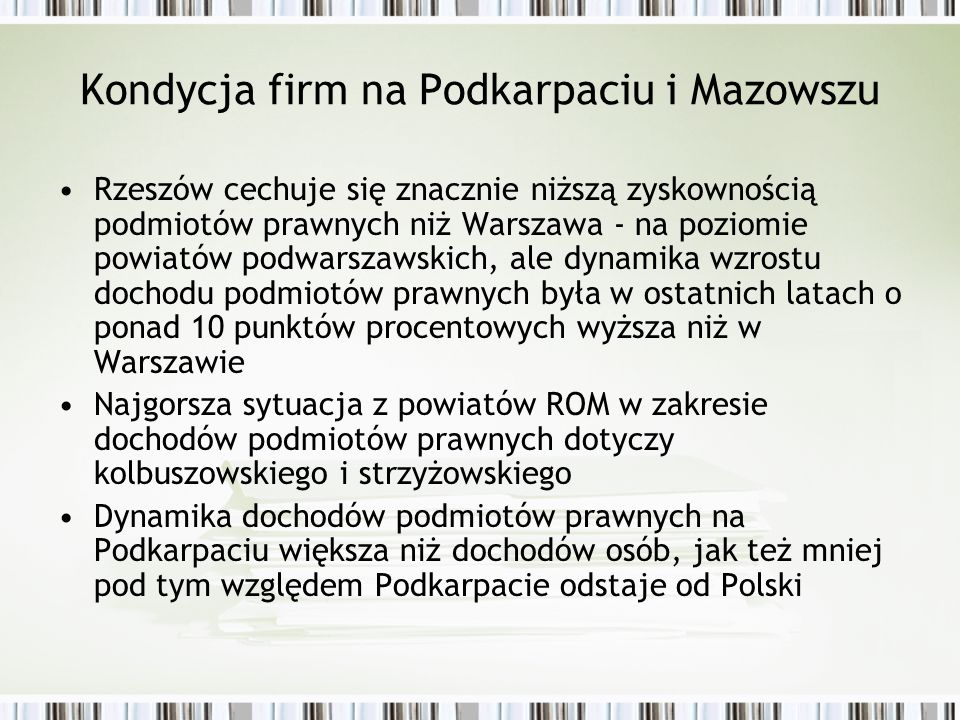 Kondycja firm na Podkarpaciu i Mazowszu