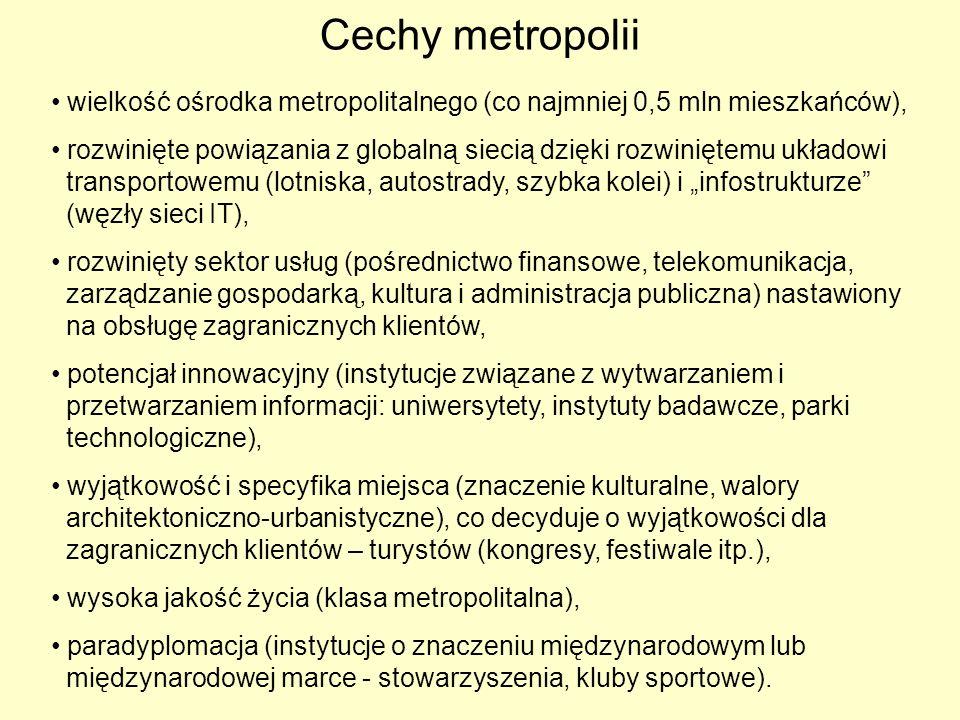 Cechy metropolii wielkość ośrodka metropolitalnego (co najmniej 0,5 mln mieszkańców),