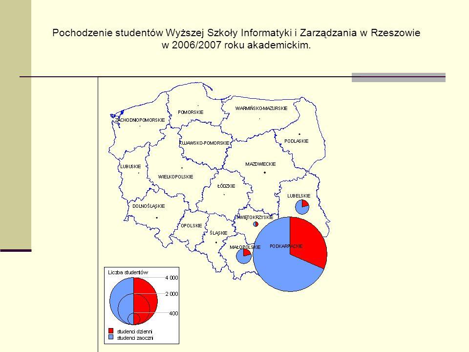 Pochodzenie studentów Wyższej Szkoły Informatyki i Zarządzania w Rzeszowie w 2006/2007 roku akademickim.