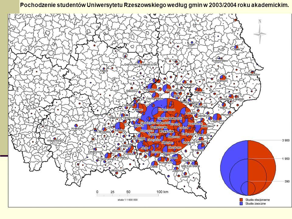 Pochodzenie studentów Uniwersytetu Rzeszowskiego według gmin w 2003/2004 roku akademickim.