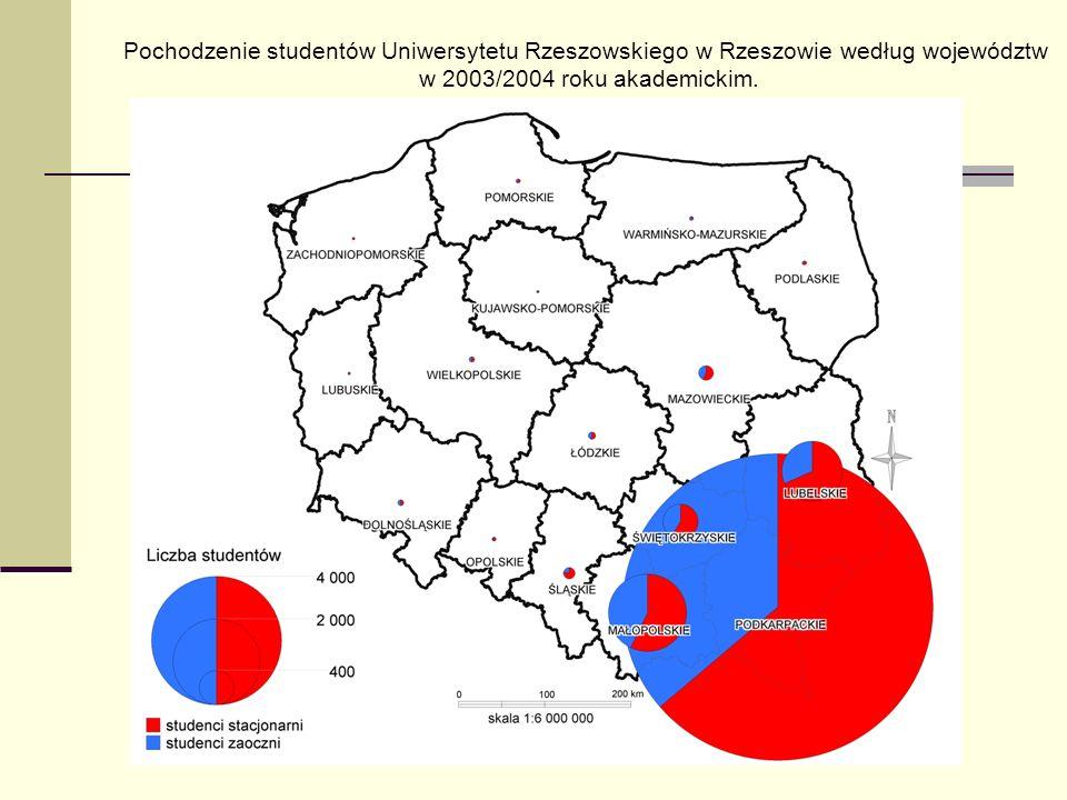 Pochodzenie studentów Uniwersytetu Rzeszowskiego w Rzeszowie według województw w 2003/2004 roku akademickim.