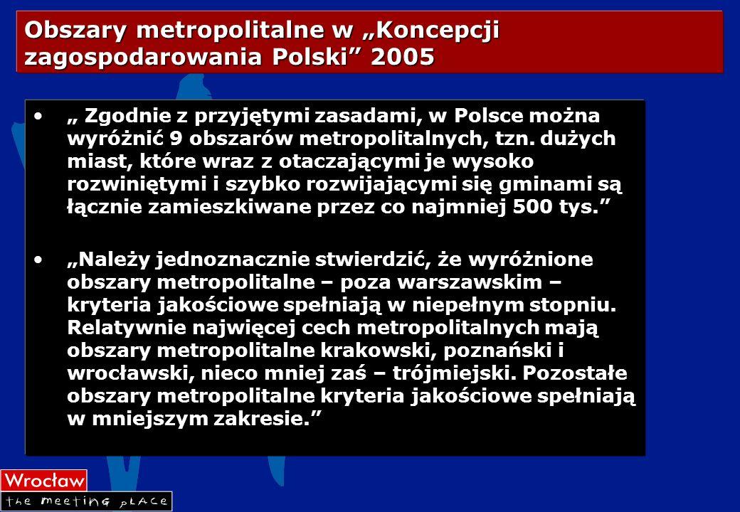 """Obszary metropolitalne w """"Koncepcji zagospodarowania Polski 2005"""