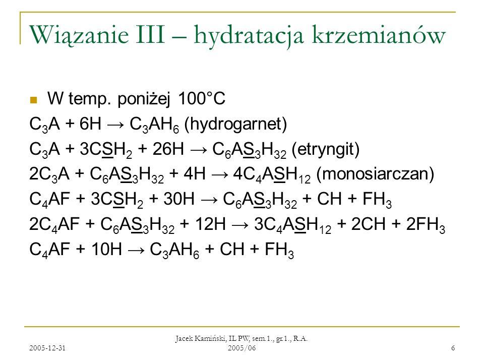 Wiązanie III – hydratacja krzemianów