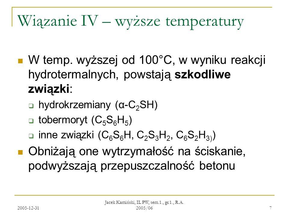 Wiązanie IV – wyższe temperatury