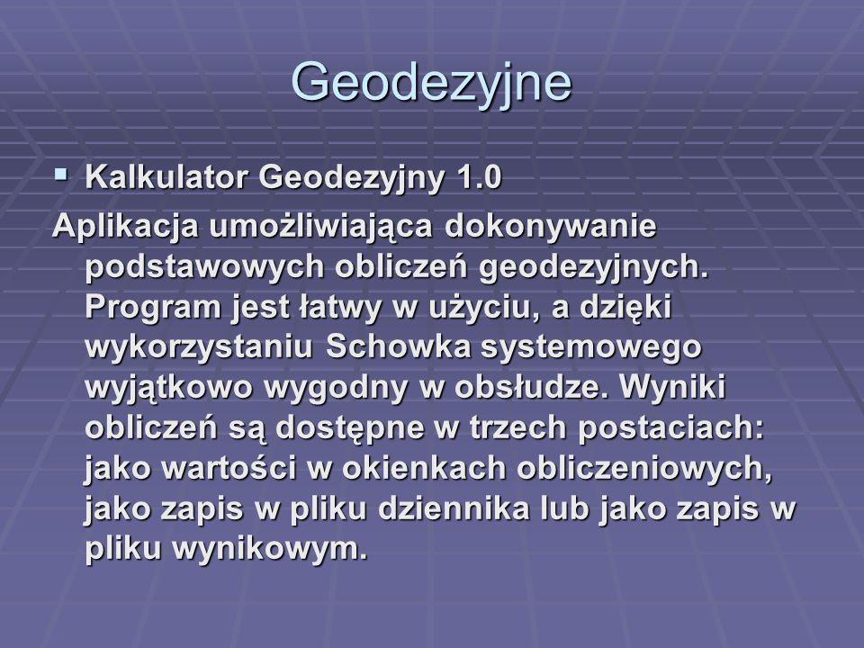 Geodezyjne Kalkulator Geodezyjny 1.0