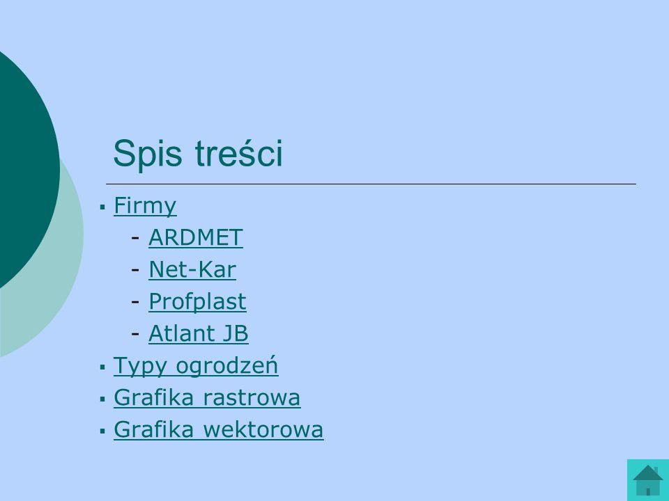 Spis treści Firmy - ARDMET - Net-Kar - Profplast - Atlant JB