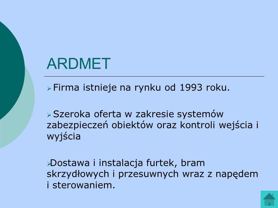 ARDMET Firma istnieje na rynku od 1993 roku.