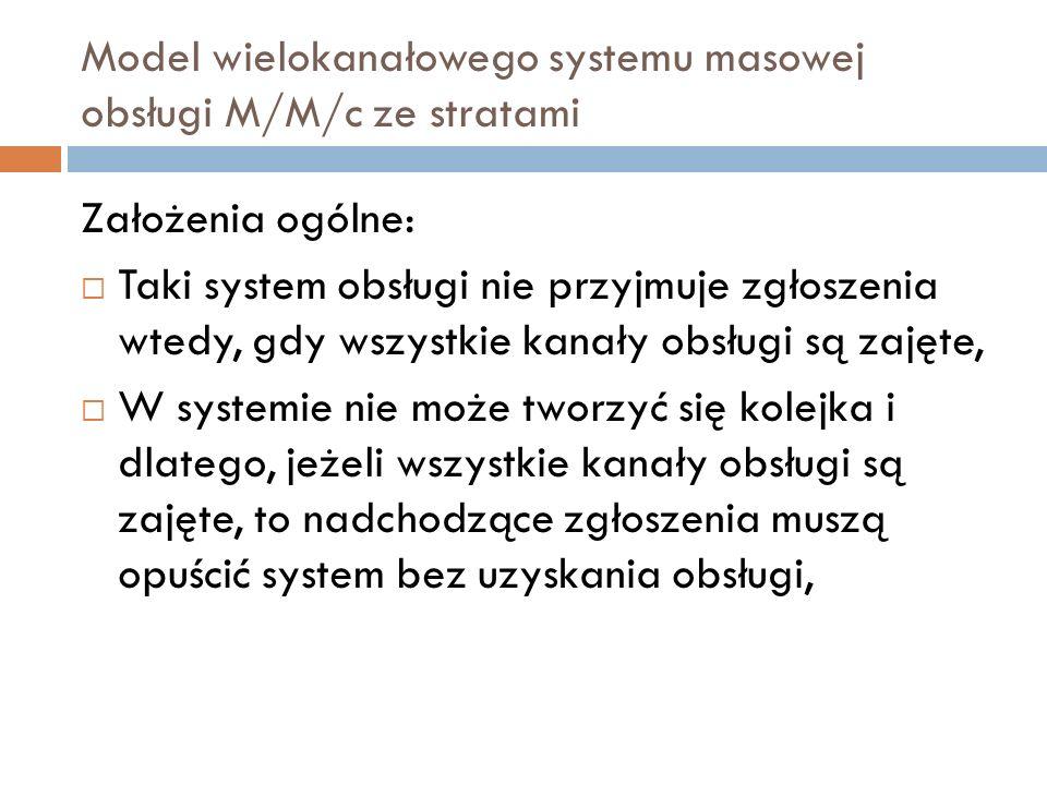Model wielokanałowego systemu masowej obsługi M/M/c ze stratami