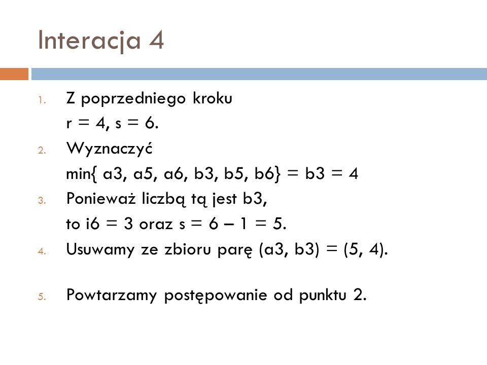 Interacja 4 Z poprzedniego kroku r = 4, s = 6. Wyznaczyć