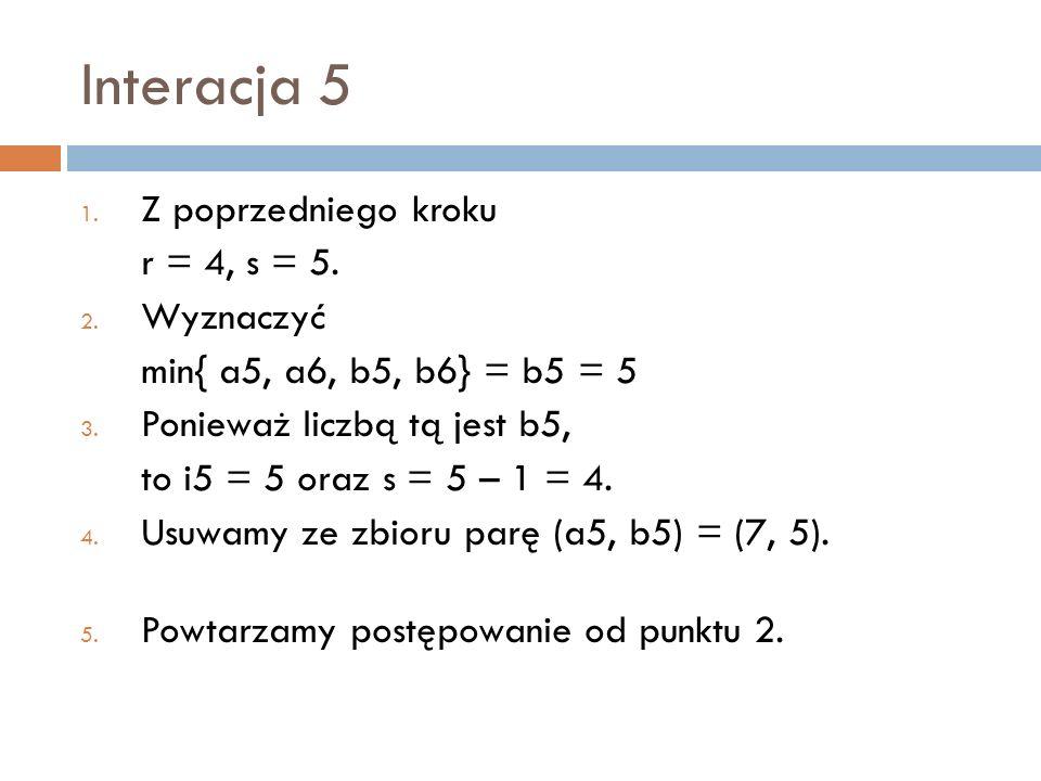 Interacja 5 Z poprzedniego kroku r = 4, s = 5. Wyznaczyć