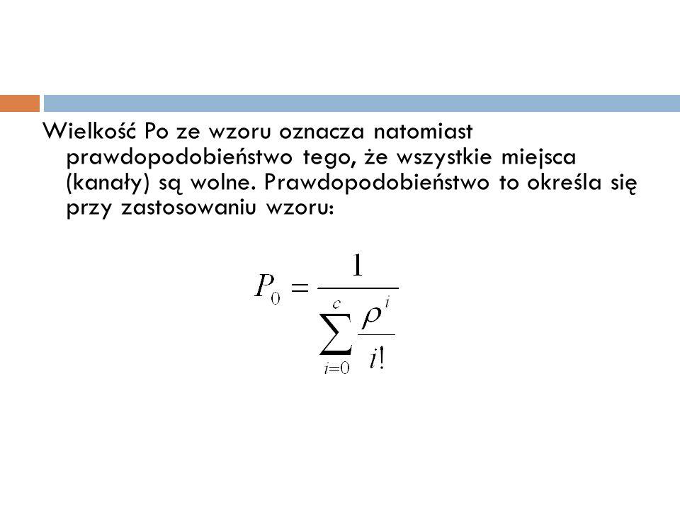 Wielkość Po ze wzoru oznacza natomiast prawdopodobieństwo tego, że wszystkie miejsca (kanały) są wolne.