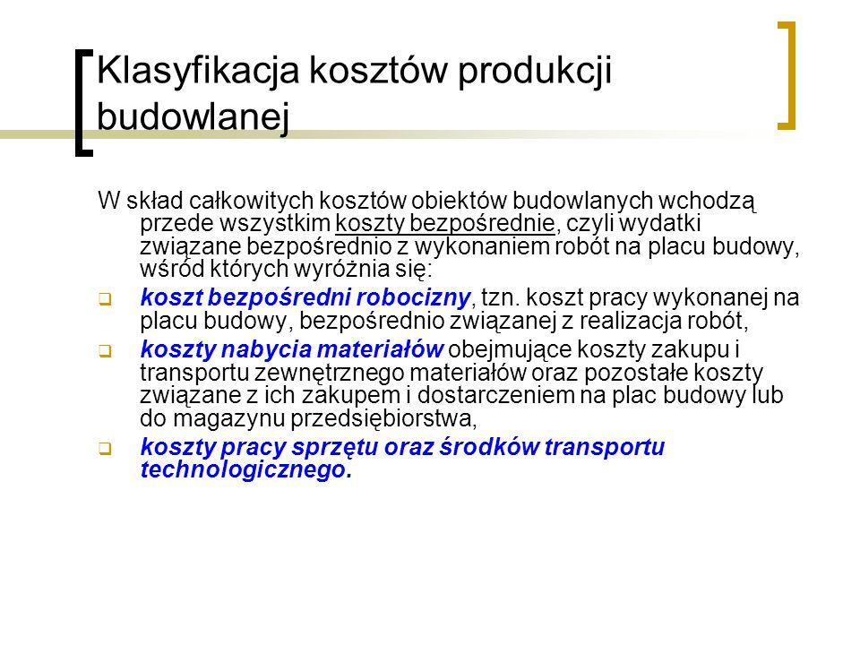 Klasyfikacja kosztów produkcji budowlanej