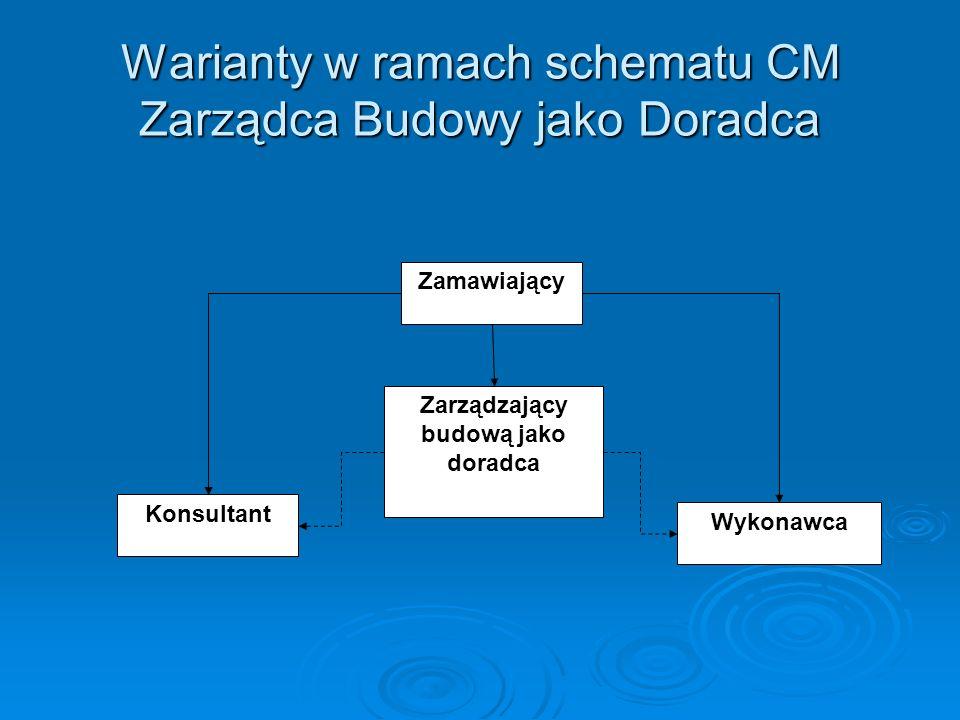 Warianty w ramach schematu CM Zarządca Budowy jako Doradca