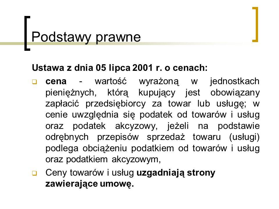 Podstawy prawne Ustawa z dnia 05 lipca 2001 r. o cenach: