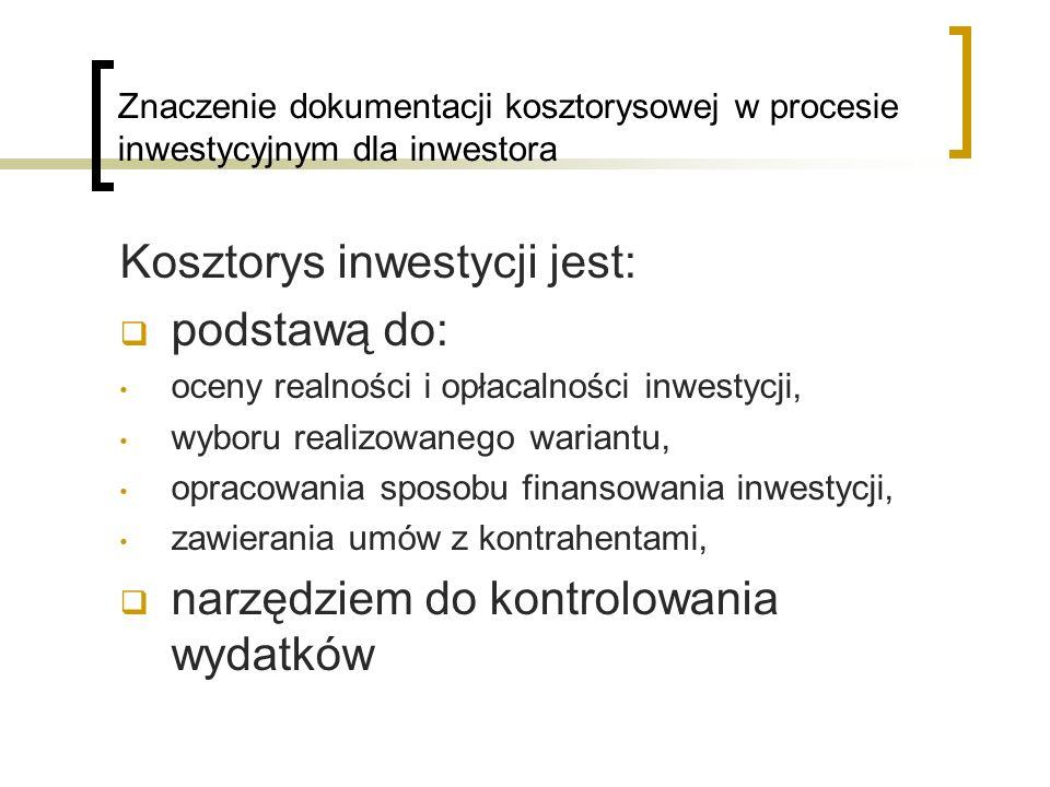 Kosztorys inwestycji jest: podstawą do: