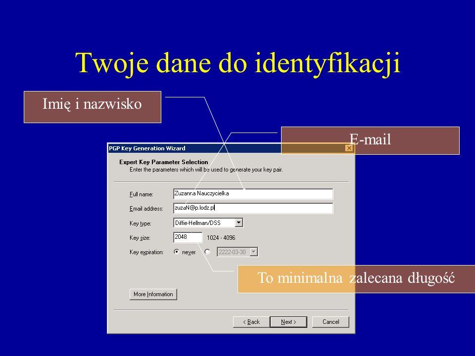 Twoje dane do identyfikacji