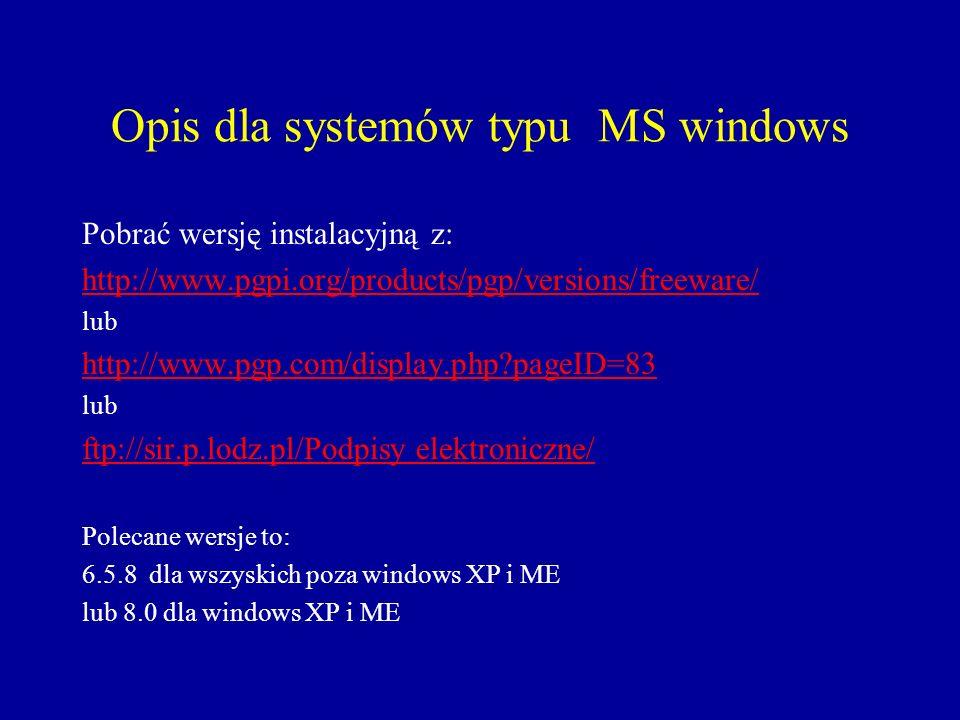 Opis dla systemów typu MS windows