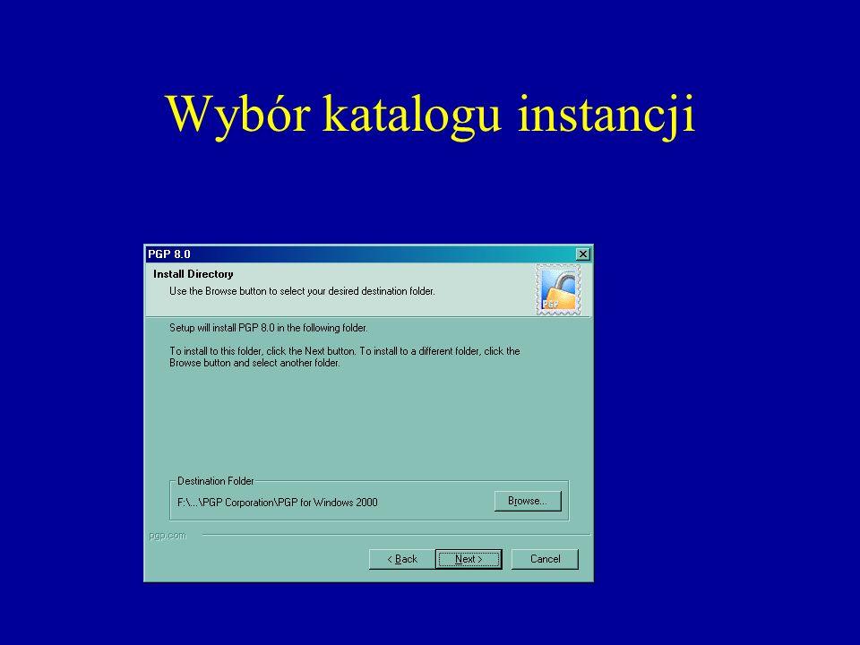 Wybór katalogu instancji