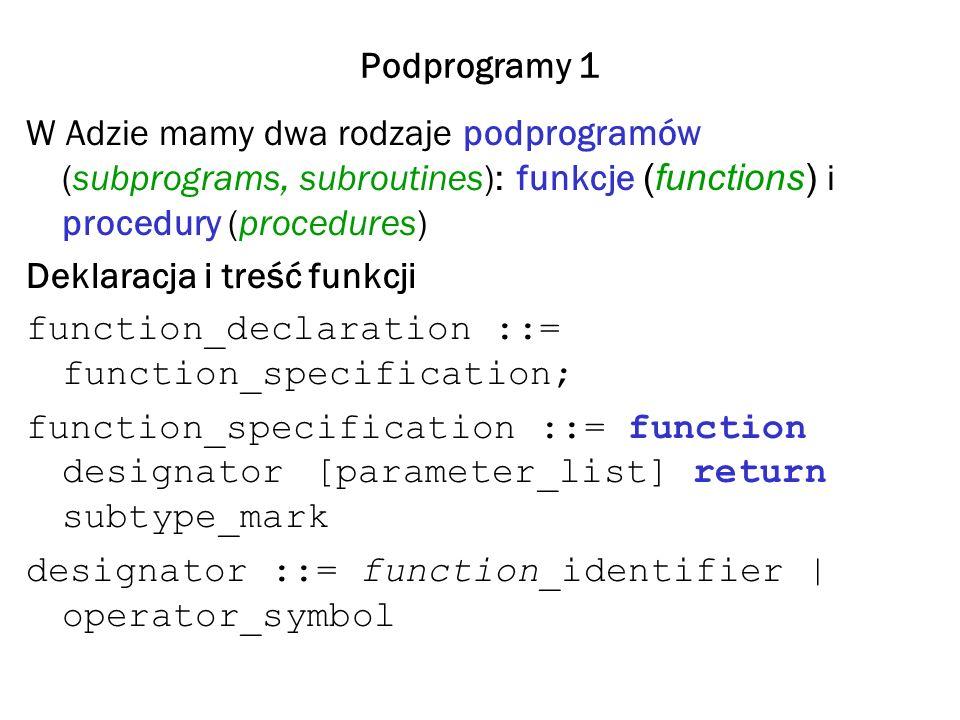 Podprogramy 1 W Adzie mamy dwa rodzaje podprogramów (subprograms, subroutines): funkcje (functions) i procedury (procedures)