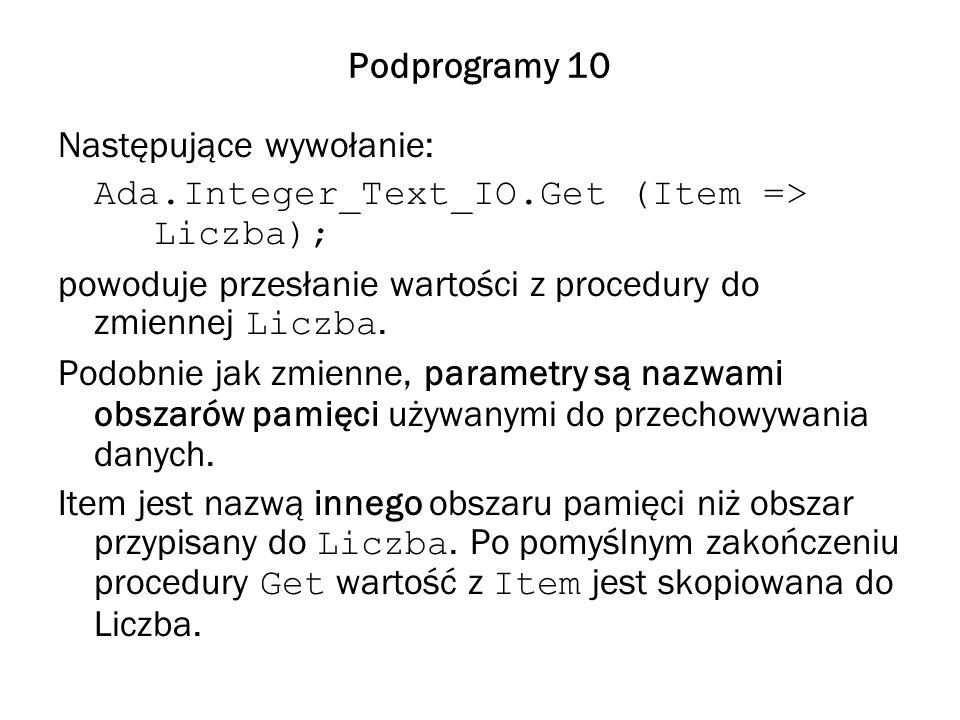 Podprogramy 10 Następujące wywołanie: Ada.Integer_Text_IO.Get (Item => Liczba); powoduje przesłanie wartości z procedury do zmiennej Liczba.