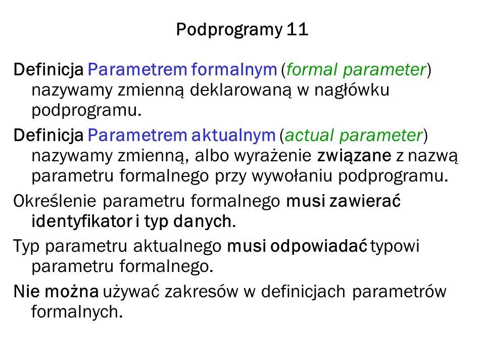 Podprogramy 11 Definicja Parametrem formalnym (formal parameter) nazywamy zmienną deklarowaną w nagłówku podprogramu.