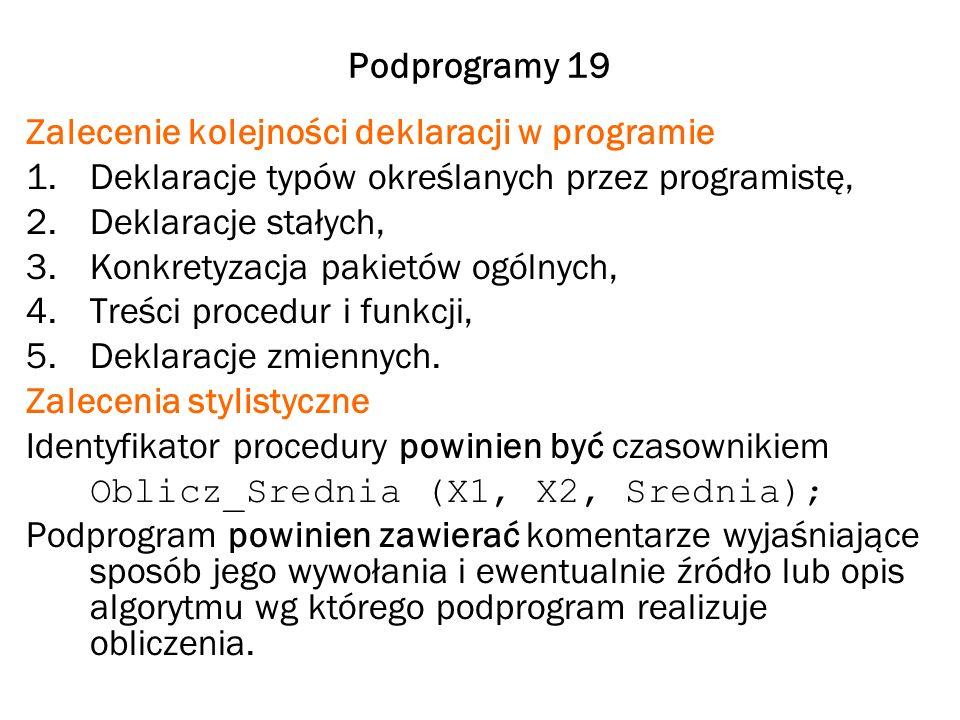 Podprogramy 19 Zalecenie kolejności deklaracji w programie. Deklaracje typów określanych przez programistę,