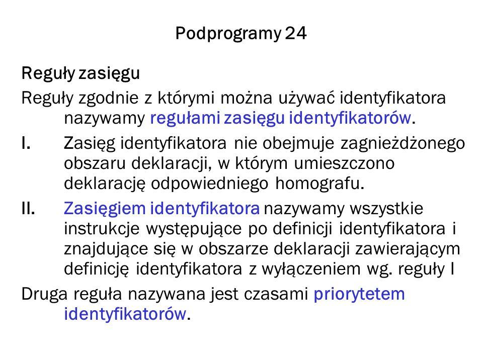 Podprogramy 24 Reguły zasięgu. Reguły zgodnie z którymi można używać identyfikatora nazywamy regułami zasięgu identyfikatorów.
