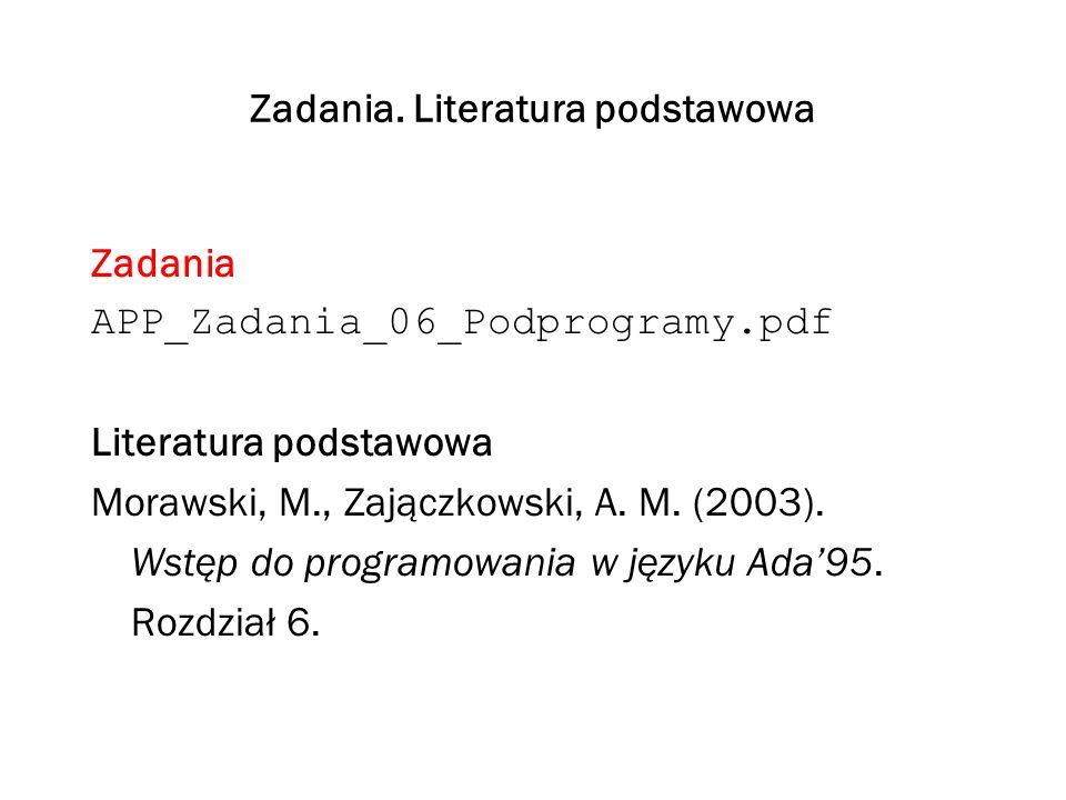 Zadania. Literatura podstawowa
