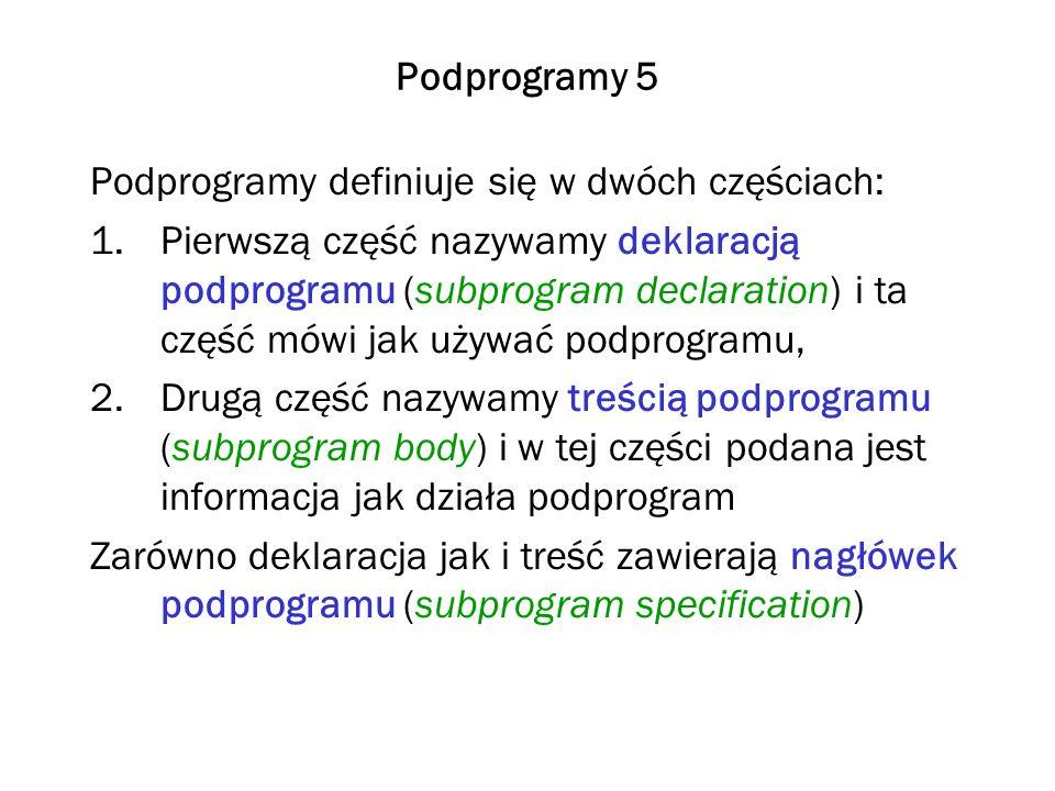 Podprogramy 5 Podprogramy definiuje się w dwóch częściach: