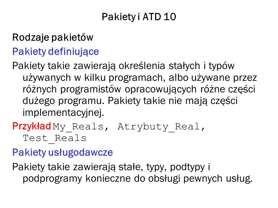 Pakiety i ATD 10 Rodzaje pakietów. Pakiety definiujące.