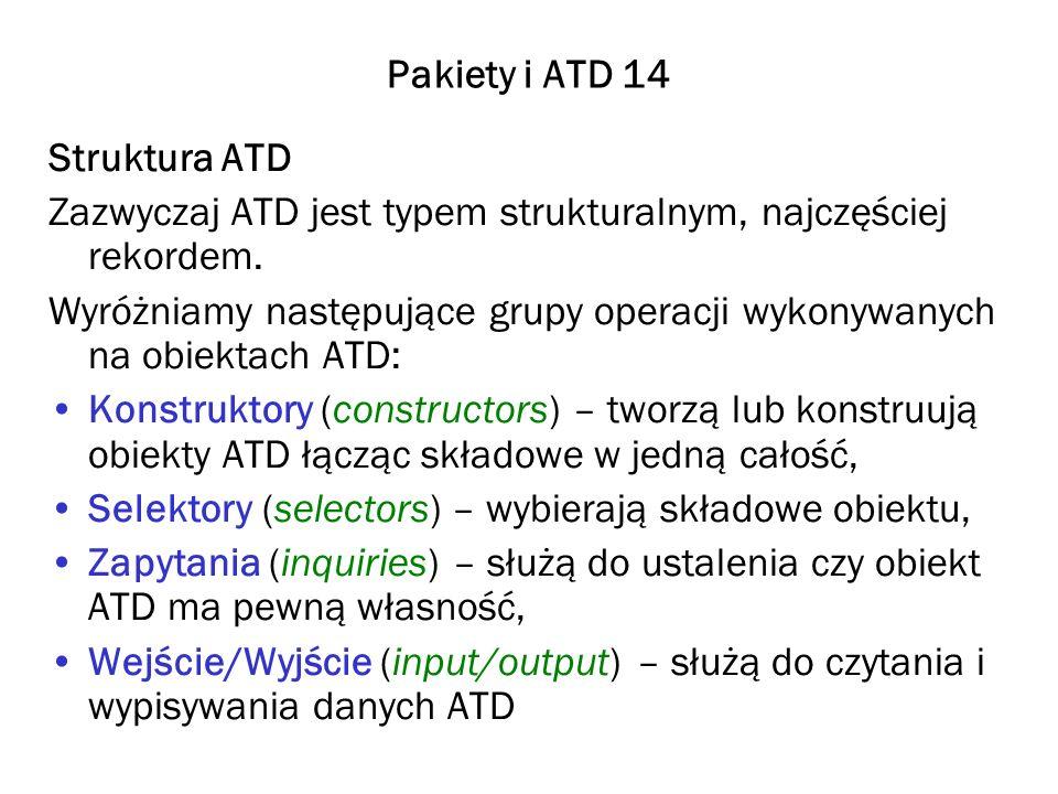 Pakiety i ATD 14 Struktura ATD. Zazwyczaj ATD jest typem strukturalnym, najczęściej rekordem.