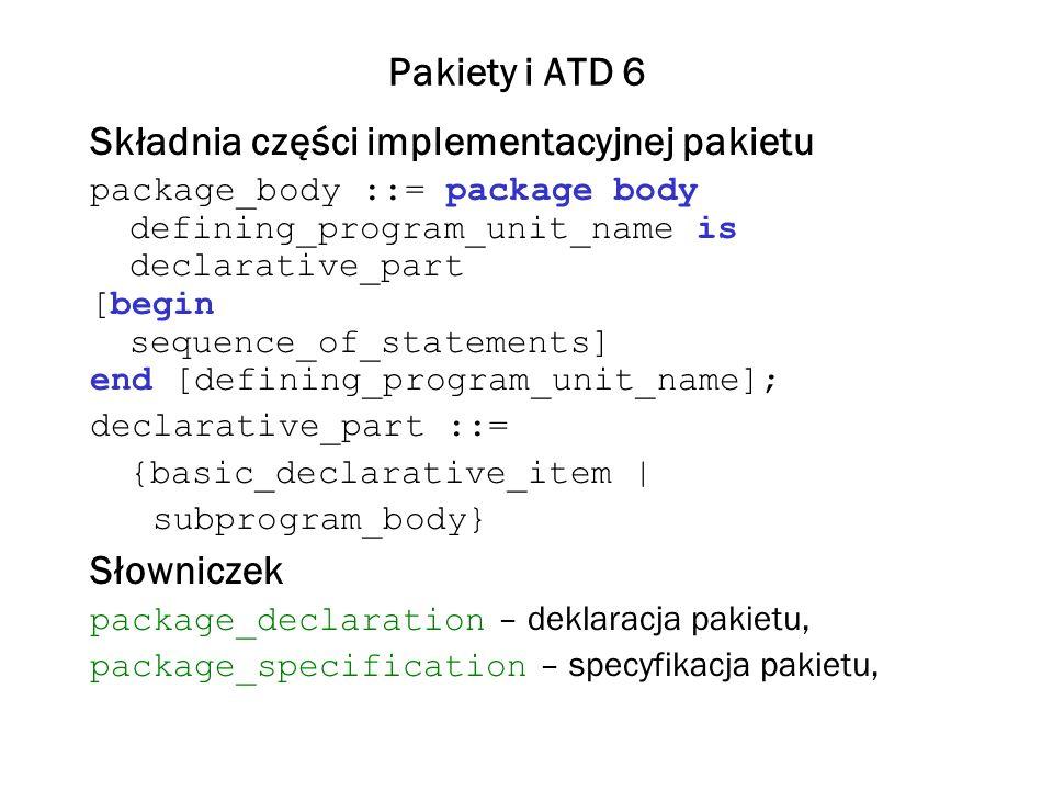 Składnia części implementacyjnej pakietu