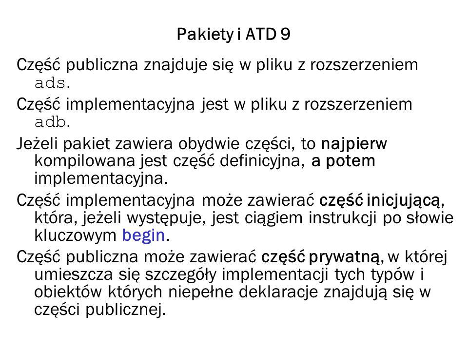 Pakiety i ATD 9 Część publiczna znajduje się w pliku z rozszerzeniem ads. Część implementacyjna jest w pliku z rozszerzeniem adb.
