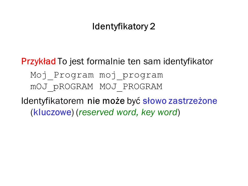 Identyfikatory 2 Przykład To jest formalnie ten sam identyfikator. Moj_Program moj_program mOJ_pROGRAM MOJ_PROGRAM.