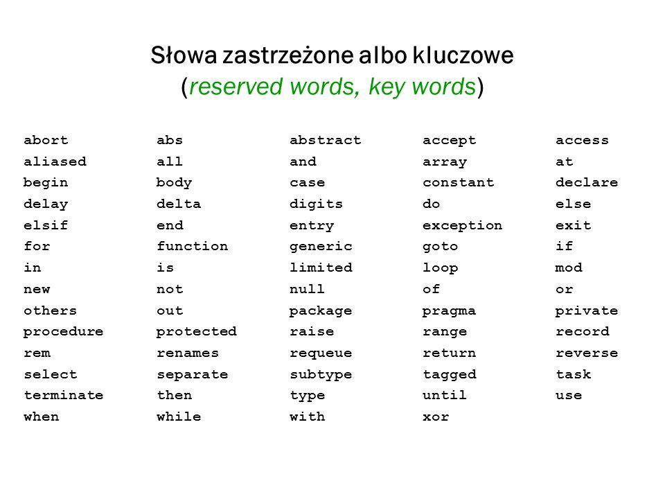 Słowa zastrzeżone albo kluczowe (reserved words, key words)