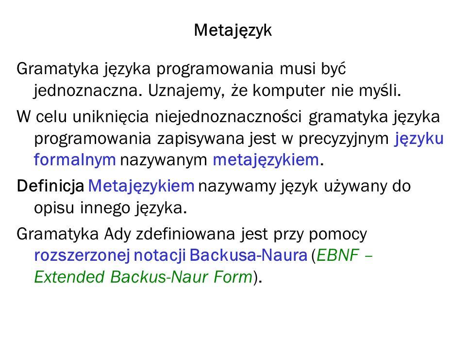 Metajęzyk Gramatyka języka programowania musi być jednoznaczna. Uznajemy, że komputer nie myśli.