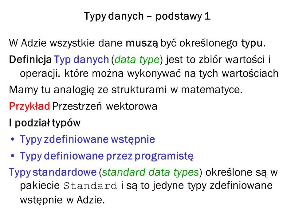 Typy danych – podstawy 1 W Adzie wszystkie dane muszą być określonego typu.